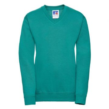 NEWTON PARK PRIMARY SCHOOL WINTER EMERALD V-NECK SWEATSHIRT WITH LOGO